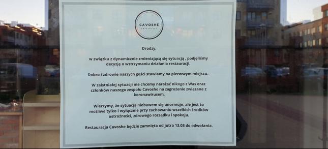Ogłoszenie o zamknięciu jednej z wrocławskich restauracji