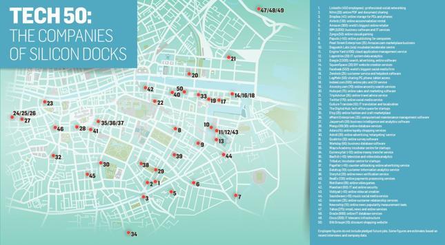 Mapa siedzib firm technologicznych w Dublinie. Kliknij, aby powiększyć