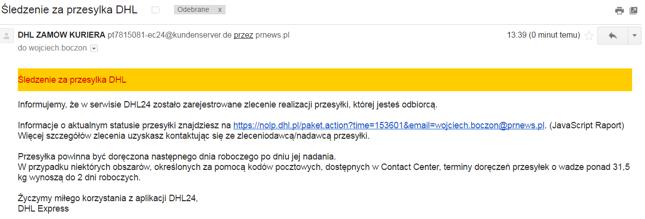 ba606e16df85d4 Uwaga na e-maile-pułapki od rzekomego DHL - Bankier.pl