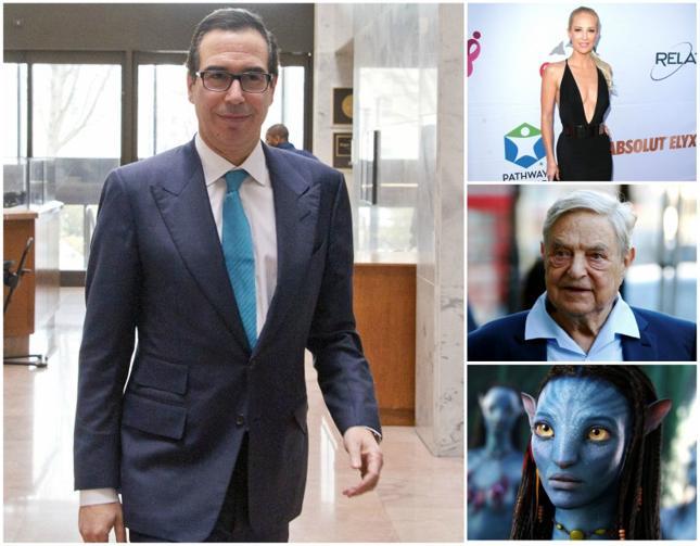 "Steve Mnuchin, Louise Linton, George Soros i kadr z filmu ""Avatar"""