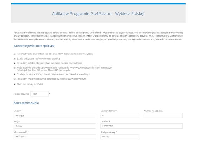 Formularz aplikacji do programu dostępny na stronie www.go4poland.pl