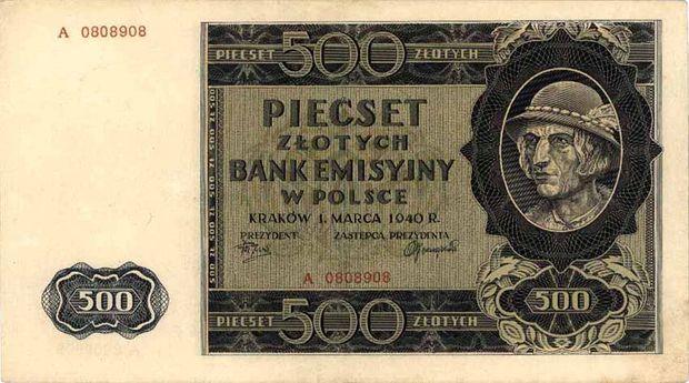 Okupacyjna młynarka 500 zł z 1940, tzw. góral