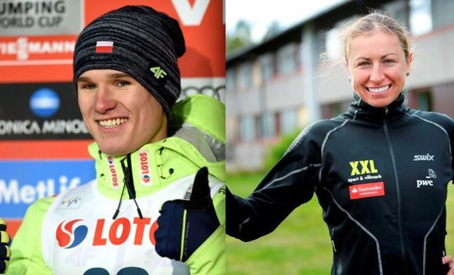 Skoczek narciarski Andrzej Stekala i Justyna Kowalczyk