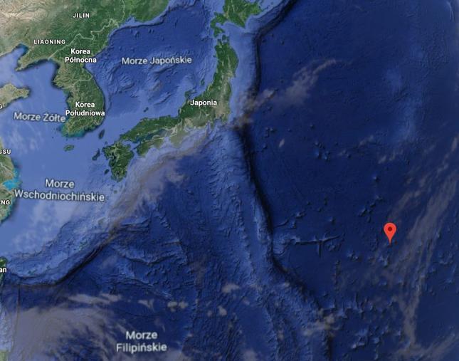 Czerwony znacznik określa położenie wyspy Minami Tori-shima
