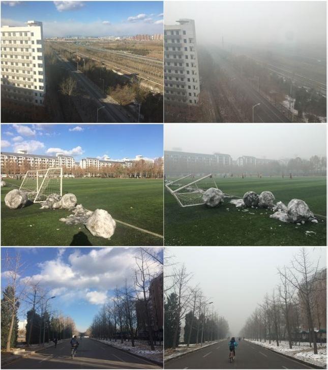 Te same miejsca w Chinach w dni o niskim i wysokim poziomie zanieczyszczenia powietrza, fot. Ewa Berus