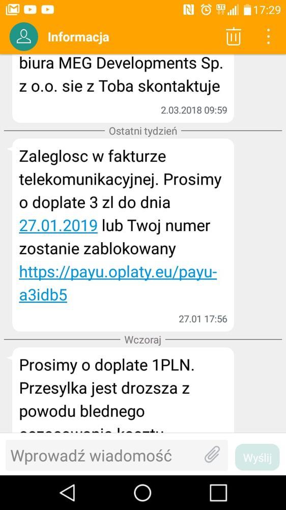 Oryginalna treść SMS-a wysłanego przez oszustów, którzy tym sposobem skradli pieniądze z konta bankowego