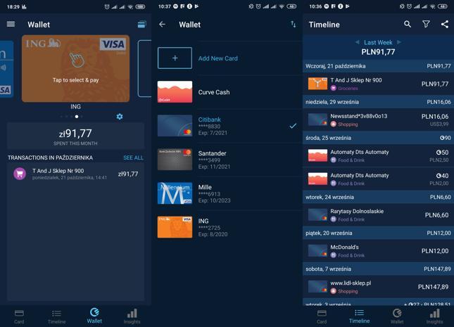 Widok portfela z kartami i historii transakcji w aplikacji Curve