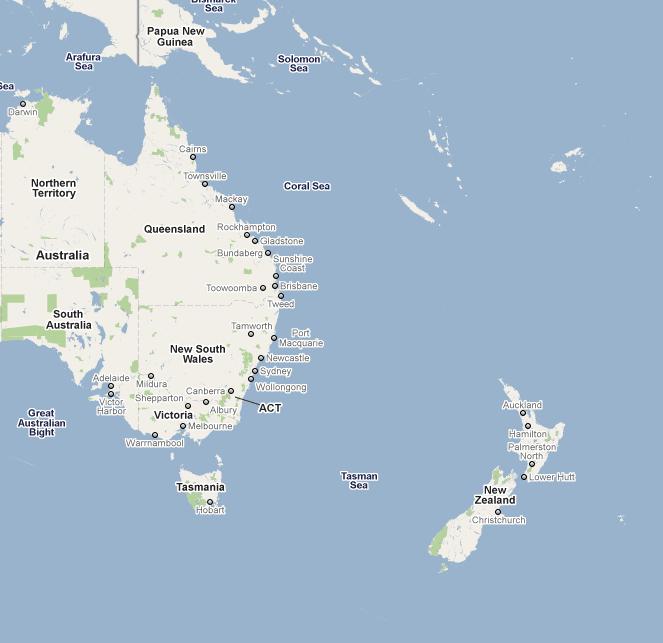 Nowa Zelandia źródło: maps.google.com