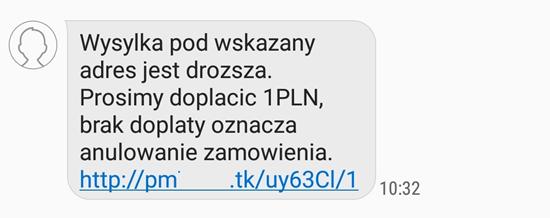 Treść wiadomości SMS przesyłanej przez oszustów