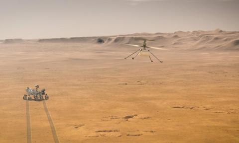 Sukces NASA. Pierwszy lot drona Ingenuity w marsjańskiej atmosferze