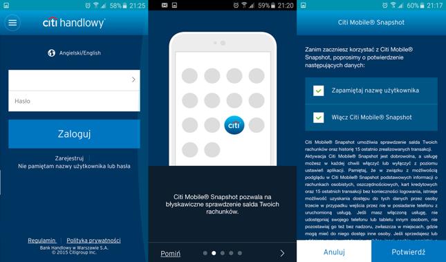 Ekran logowania i aktywacji Mobile Snapshot