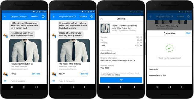 Proces płatności w konwersacji na Messengerze
