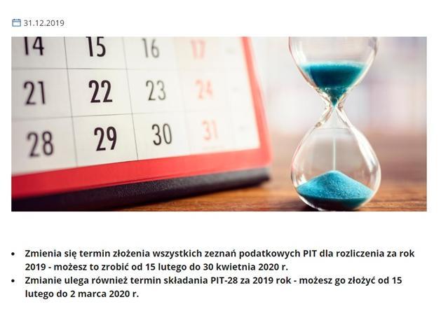Fragment zrzutu ekranu z rządowej strony: https://www.gov.pl/web/finanse/kiedy-zlozyc-pit-za-2019-r