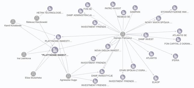 Sieć powiązań Damiana Patrowicza i spółki Platynowe Inwestycje na bazie KRS