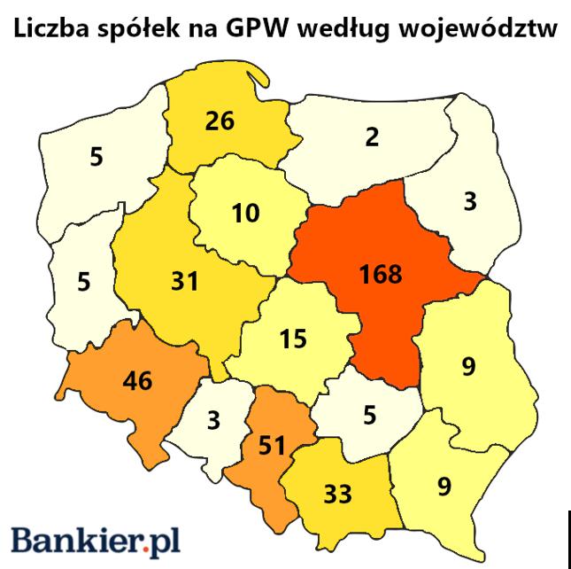 Liczba spółek na GPW według województw