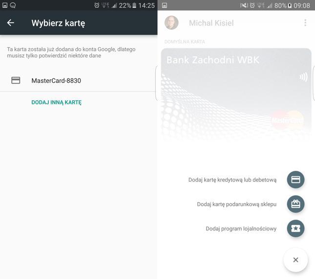 Dodawanie karty do Android Pay