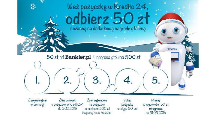 Weź pożyczkę w Kredito24 i odbierz 50 zł premii!