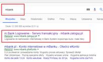 Złodzieje reklamują w wyszukiwarkach fałszywe strony mBanku