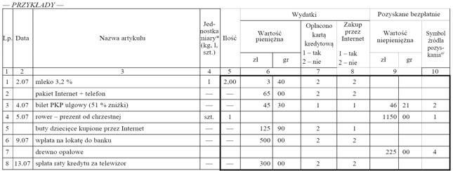 Książeczka budżetu gospodarstwa domowego (Kwestionariusz BR-01)