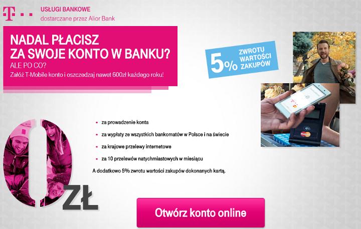 5% zwrotu za zakupy dla posiadaczy konta T-Mobile Usługi Bankowe