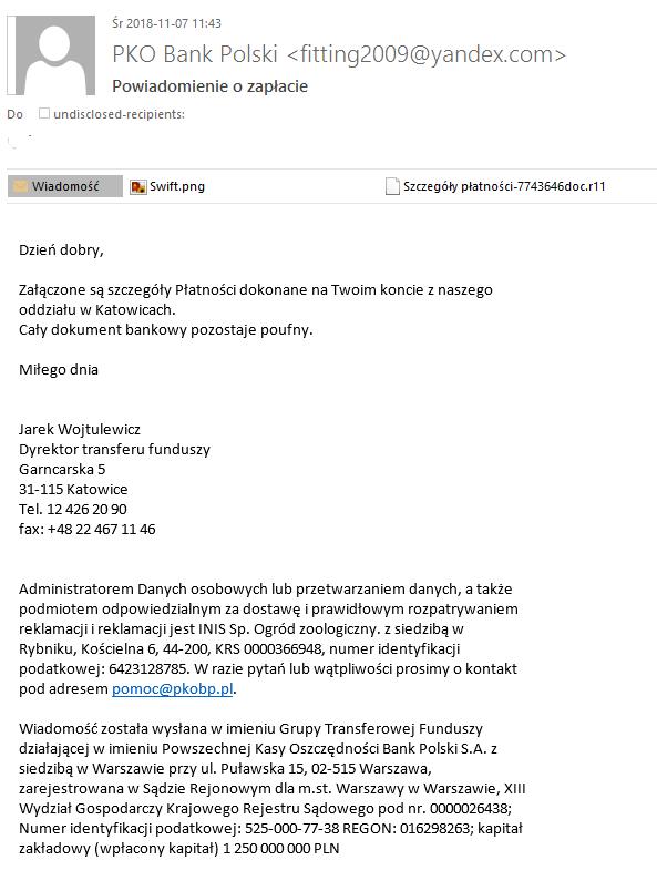 Treść e-maila wysyłanego przez oszustów podszywających się pod PKO Bank Polski