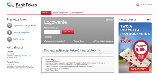 Komunikat o problemach z logowaniem do Pekao24.pl