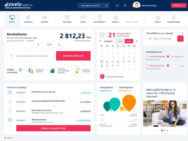 Tak wygląda system bankowości internetowej EnveloBanku