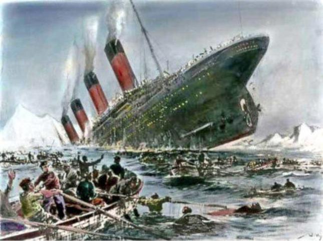 Pocztówka przedstawiająca tragedię Titanica autorstwa niemieckiego artysty Willy'ego Stoewera