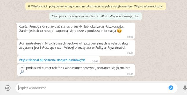 Wiadomość od chatbota InPostu
