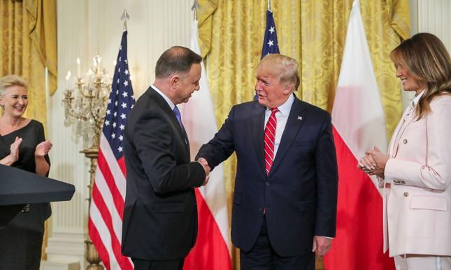 Donald Trump podczas wizyty w Polsce