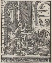 Gorzelnia - rycina z 1568 r. przedstawiająca pracownika, kotlarza, przy pracy.