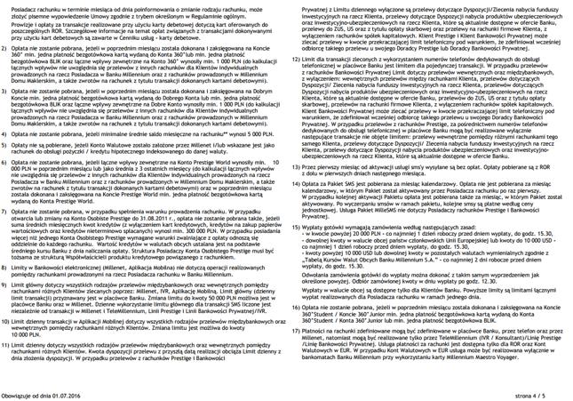 W Banku Millennium cennik dla kont ma 2,5 strony. Kolejne 2,5 to przypisy i wyjaśniania.