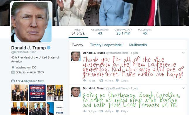 """""""Make Trump Tweets Eight Again"""" podmienia czcionkę w tweetach prezydenta USA na dziecięce pismo"""