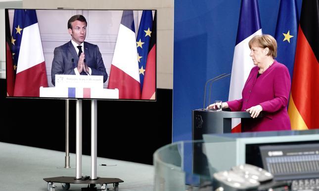 Niemiecka kanclerz Angela Merkel na wspólnej wideokonferencji z prezydentem Francji Emmanuelem Macronem. Berlin, 18 maja 2020 r.