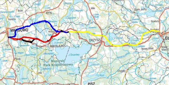 Trzy warianty budowy S16 zaproponowane przez GDDKiA. Sporny odcinek zaznaczony na niebiesko