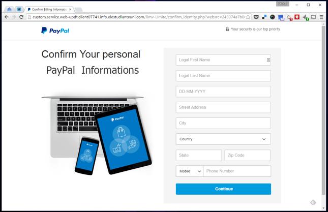 Podrobiony serwis PayPal