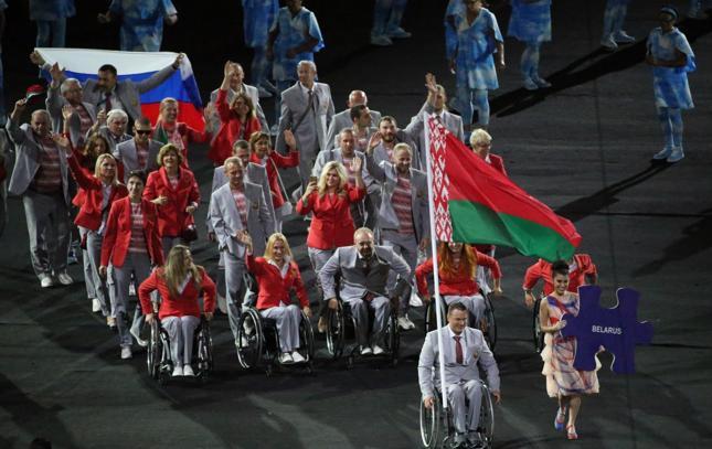 Podczas ceremonii otwarcia Letnich Igrzysk Olimpijskich w Rio de Janerio reprezentacja Białorusi wystąpiła z rosyjską flagą