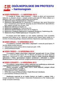ogólnopolskie dni protestu-harmonogram