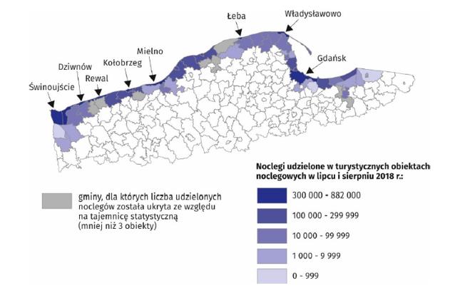 Gminy nadmorskie według liczby udzielonych noclegów w lipcu i sierpniu 2018 r.