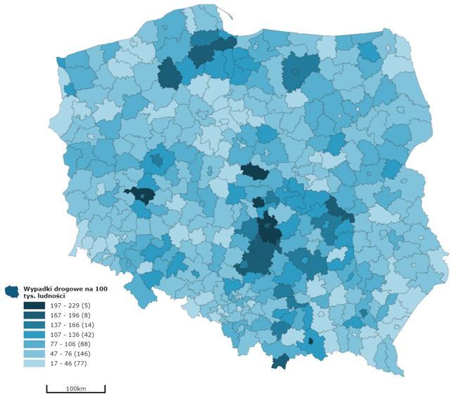 Liczba wypadków drogowych na 100000 mieszkańców danego powiatu (2018 r.)