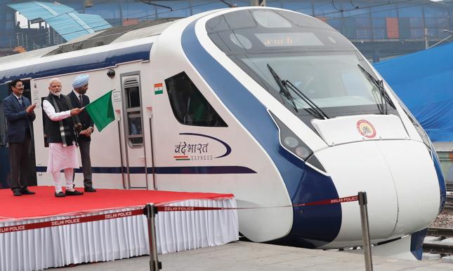 Ceremonia inauguracji użytkowania najszybszego pociągu w Indiach z udziałem premiera Narendra Modi.