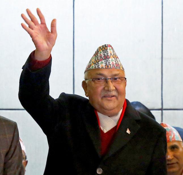 Premier Nepalu Khadga Prasad Sharma Oli, znany także jako K.P. Oli.