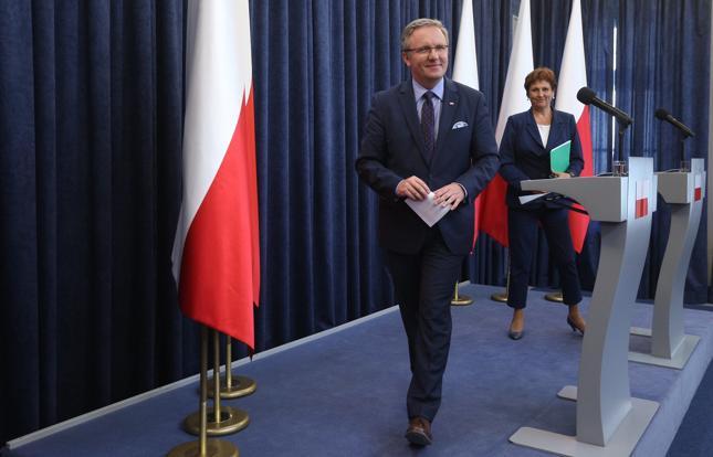 Szef Gabinetu Prezydenta Krzysztof Szczerski i szefowa Kancelarii Prezydenta Halina Szymańska