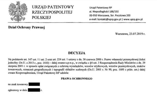 Sfalszowana decyzja 23.07.2019 r. Kliknij, aby pobrać PDF
