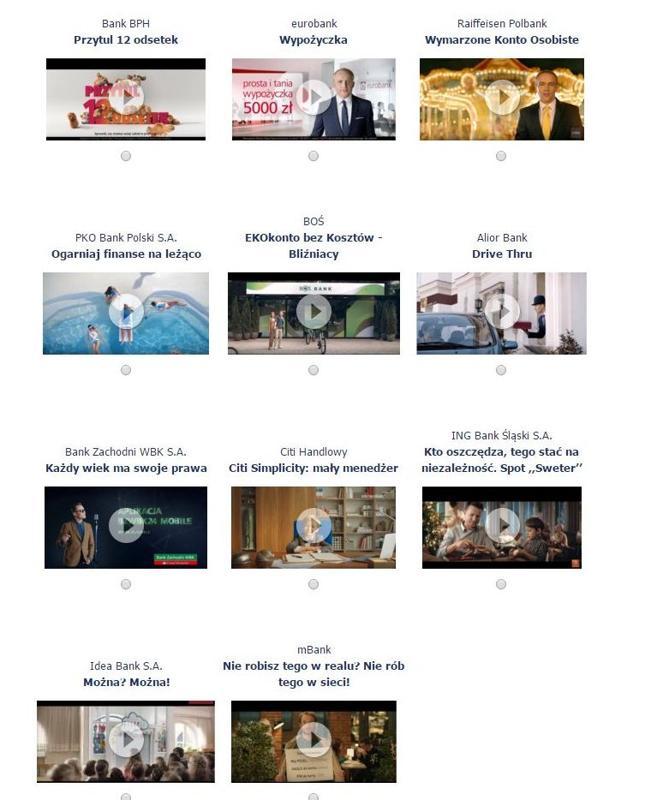 Reklamy banków biorące udział w głosowaniu na najlepszy spot - Złoty Bankier
