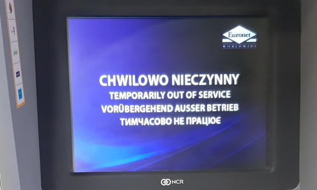Faktyczne zdjęcie chwilowo nieczynnego bankomatu wykonane 13 marca br.