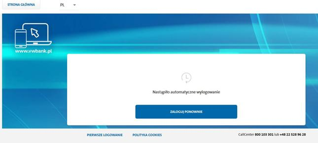 Widok strony logowania do Volkswagen Banku we wtorek rano