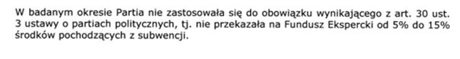 Rysunek 2 Fragment raportu uzupełniającego audyt sprawozdania finansowego partii Wolność