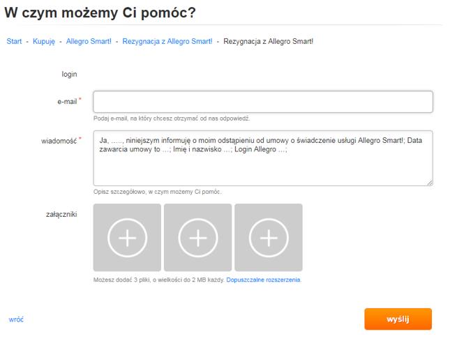 0cca771fd Aby zrezygnować z Allegro Smart!, trzeba wypełnić formularz kontaktowy.