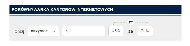 Kliknij, aby przejść do porównywarki kantorów internetowych na Bankier.pl